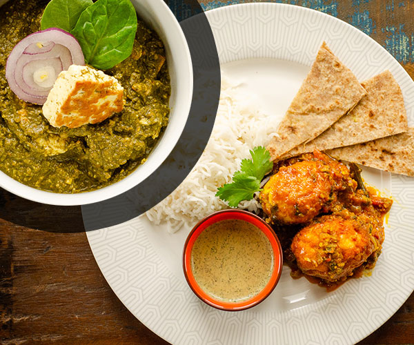 DUO : Egg curry et palak paneer