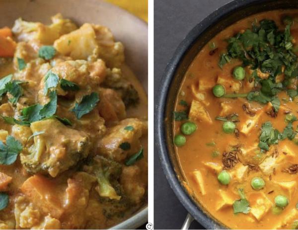 DUO: Aloo matar au tofu, cari de chou-fleur, carottes et cajous, riz basmati et pain naan