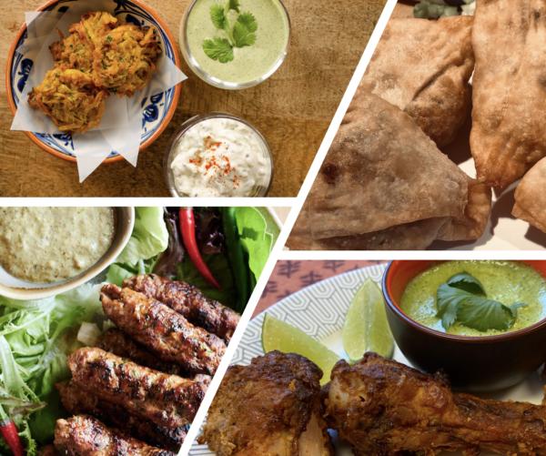 Assortiment de Ailes de poulet tandoori, Seekh Kebab, Oignon Bhaji et Samosa aux Légumes
