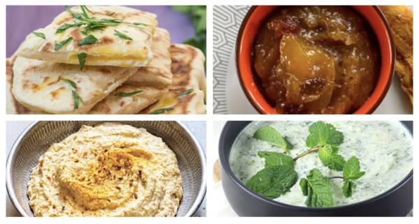 Trilogie de trempettes et pains naan grillés (houmous à l'indienne, raïta au concombre et chutney à la mangue)