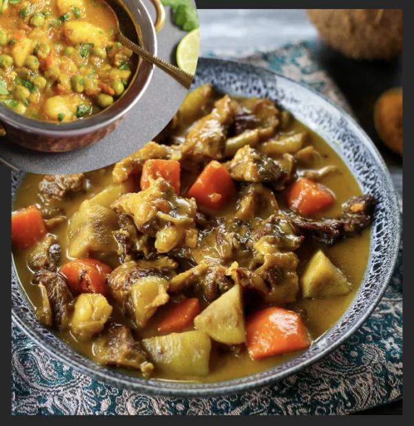 Curry de boeuf et aloo matar